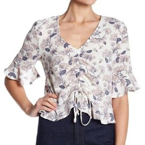 Floral V-neck Ruffle Sleeve Front Tie Blouse